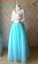 TURQUOISE BLUE Maxi Floor Length Tutu Skirt High Waist 6-Layer Bridal Tutu Skirt image 6