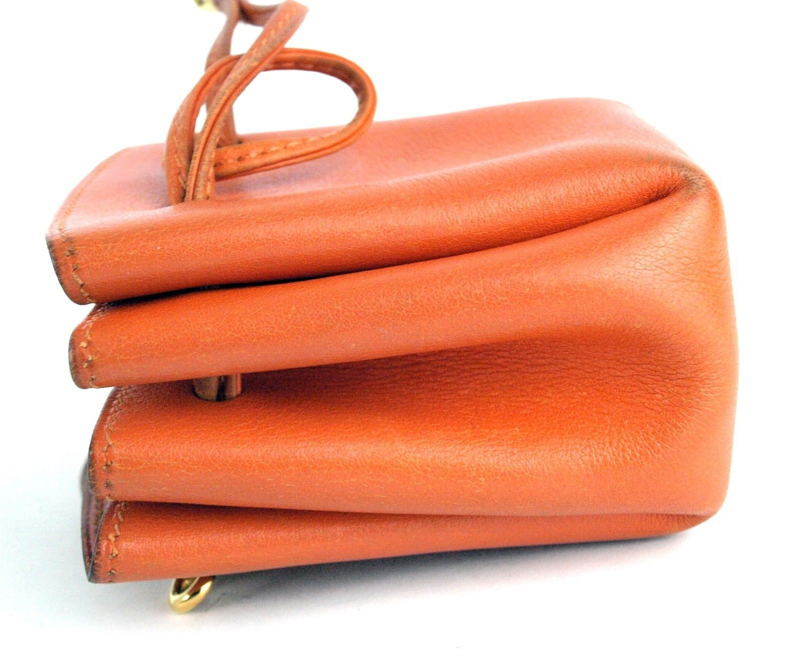 Authentic HERMES Paris Orange Leather Tiny Cosmetic Pouch Wristlet Purse France image 4