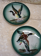 Two Vintage 1950's Hand Painted Made in Japan Duck Plates Decorative Wall Plates - $14.00