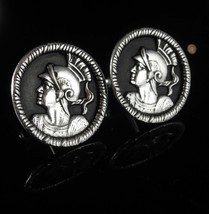 Medieval wedding set Swank CENTURION Roman Cufflink set Vintage silver K... - $125.00