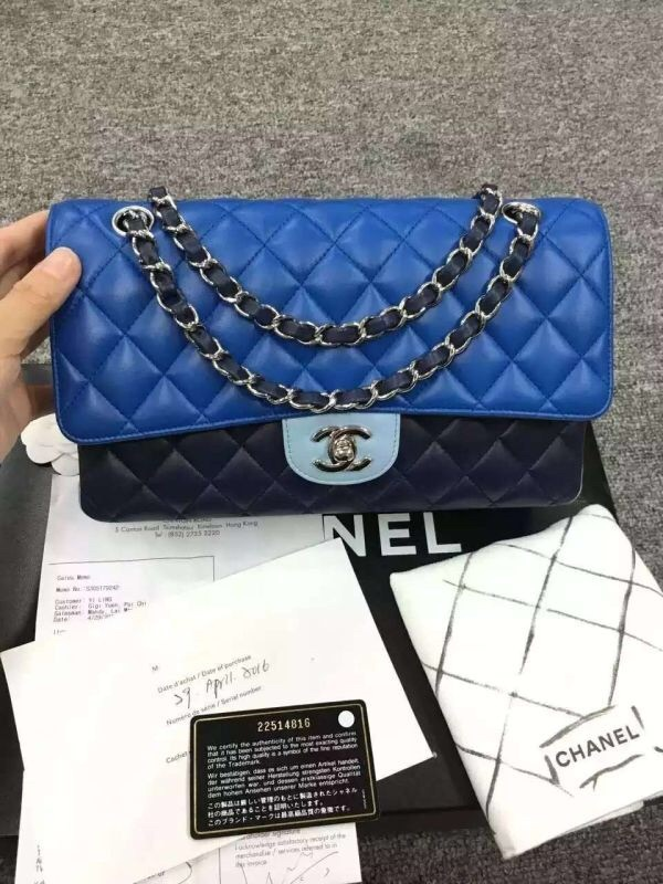 Bnib Authentic Chanel 2017 Tri Color Quilted Flap Bag Blue Navy Shw