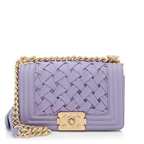 AUTH Chanel Le Boy Woven Braided Small Flap Bag Blue GHW