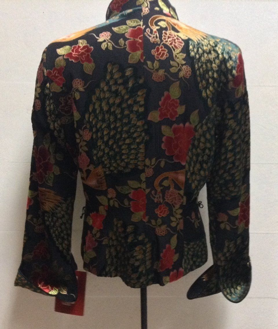 JC Collections  Multi-Color Silk Jacket Peacock Floral Sz 8 NWT