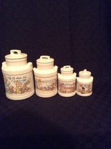 Set Of 4 Ceramic Vintage McCoy Pottery Kitchen Set Canisters girls Old F... - $74.79