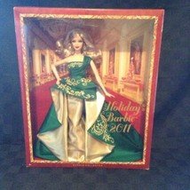 NIB Mattell 2011 Holiday Barbie T7914 Collectible Doll Green Gold Dress ... - $37.39
