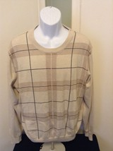 NWT $99.99 Pronto Uomo Tan/Cream Cotton Cashmere Blend Pullover Sweater XL - $45.80