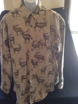 Preowned Woolrich XL Cotton Moose Caribou Long Sleeve Button Shirt Hunti... - $21.49