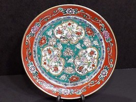 "GOLD IMARI Hand Painted 7.25"" Plate Burnt Orange Teal w Peacock / Floral... - $22.28"