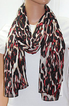 NWT Calvin Klein Black-Red Multi Pattern Wrap Scarf A4WI1091 72x28 - $19.79