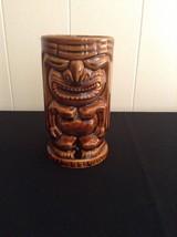 Brown Ceramic Porcelain Tiki Leilani  Mug Tumbler God Idol Usa Bar Hut H... - $14.95