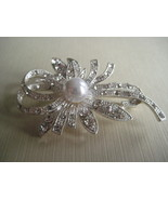 Silver Tone Brooch With Rhinestones And Faux Pe... - $9.00