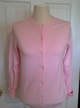 Lands End  Women's LS Supima Crew Cardigan Sweater Wax Flower New - $39.99
