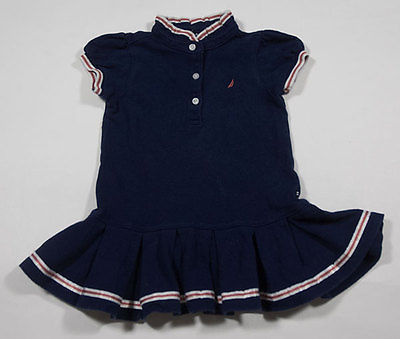 NAUTICA GIRLS SIZE 18M DRESS NAVY NAUTICAL PATRIOTIC RED WHITE BLUE PLEATED HEM
