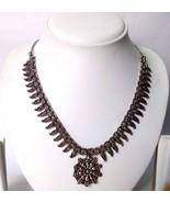 Silver Oxidized Necklace Garba Floral Pendant Jewelry Tribal Boho Chic G... - $9.89