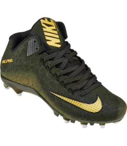NIKE Alpha Pro 2 Mens 3/4 TD Football Cleats BLACK GREEN GOLD Snakeskin Sz 14