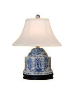 """Chinese Blue and White Porcelain Box Chinoiserie Floral Table Lamp 17"""" - $158.39"""