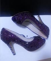 Peep Toe Wedding Shoes Classic Bridel Heels Purple Rhinestone Women Shoes - $135.00