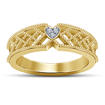 18k Gold Plated 925 Silver Round Cut Sim Diamond Engagement Band Women's... - $71.88