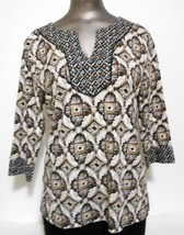 Karen Scott Brown & White Cotton Knit 3/4 Sleeve  Top  Size  PL - $11.72