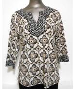 Karen Scott Brown & White Cotton Knit 3/4 Sleeve  Top  Size  PL - $11.72