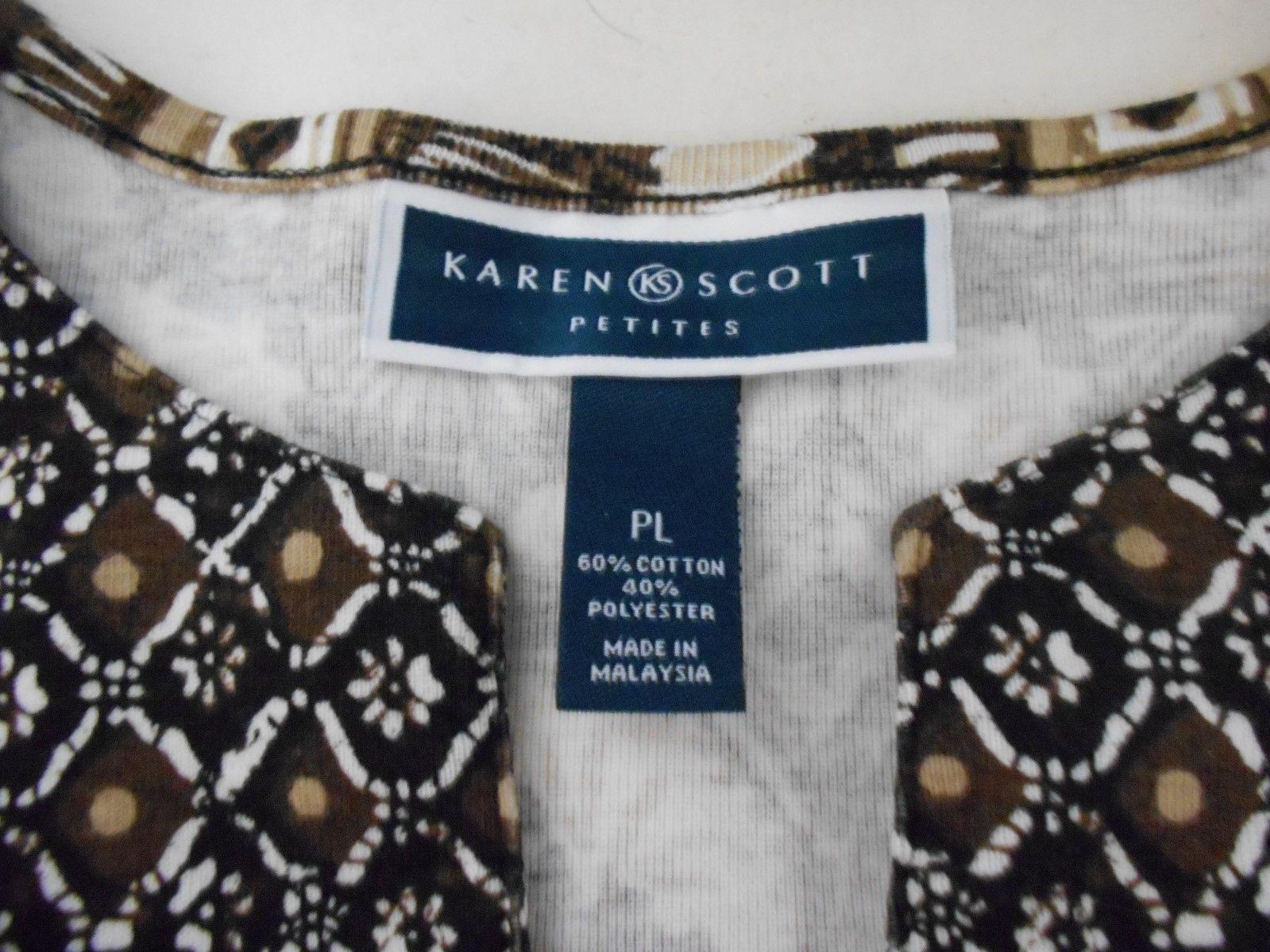 Karen Scott Brown & White Cotton Knit 3/4 Sleeve  Top  Size  PL