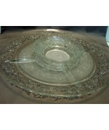 "Princess House ""Fantasia "" 13 ""Chip & Dip Divided Server w Frosted Center - $29.99"