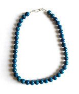 Fossil Bead Necklace with Hook Clasp Purple or Turquoise Handmade - $6.45