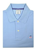 Brooks Brothers Mens Light Blue Pink Slim Fit Pique Polo Shirt Large L 3099-7 - $59.39