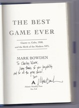The Best Game Ever Giants vs. Colts 1958 By Mark Bowden Signed Autographed - $51.43