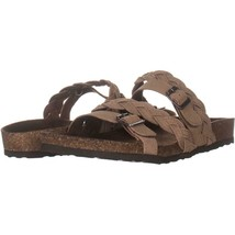 White Mountain Holland Double Buckle Slip On Sandals 572, Grey/Leather, 10 US - $30.71