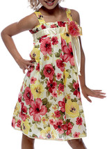 Bonnie Jean Big Girls Tween 7-16 Yellow Red Green Floral Print Social Dress
