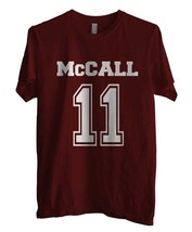 McCall 11 on front Beacon hills lacrosse Teen wolf Men Tee S to 3XL MAROON - $18.00