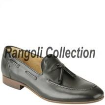 Handmade mens suede leather mocassins tassels Men Navy blue suede formal shoes - $159.99