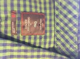 Gap Checkered Blue Green Long Sleeve Shirt Large 100% Cotton  - $23.36