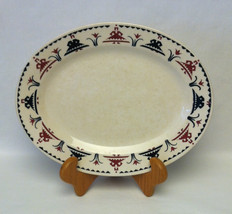 Vintage 1937 Homer Laughlin oval platter Dutch pattern red and blue tulips - $2.00