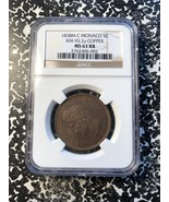 1838-M C Monaco 5 Centimes NGC MS63 Red Brown Lot#G021 KM#95.2a Copper - $420.75