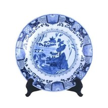 """Beautiful Blue and White Porcelain Chinese Blue Willow Plate 16"""" Diameter - $168.29"""