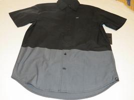Hurley S sm Quick Strike SS Mens surf skate button up shirt 00A black gr... - $52.46
