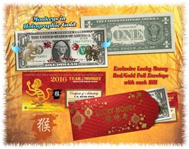 Lot of 25 Chinese New Year 24KT GOLD Lucky Money 2016 YEAR OF THE MONKEY... - $214.12
