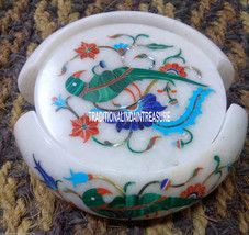 White Marble Coffee Coasters Rare Mosaic Malachite Peacock Inlay Art Decor Gifts - $257.25