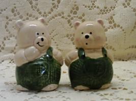 Vintage Bears in Overalls Salt & Pepper Shaker Set // Figural Bears S&P Shakers - $7.25