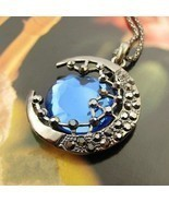 Lovely Blue Moon with Stars Pendant Necklace(Blue) - £5.62 GBP