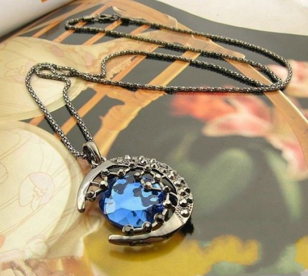 Lovely Blue Moon with Stars Pendant Necklace(Blue)