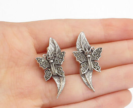 925 Sterling Silver - Vintage Garnet & Marcasite Butterfly Drop Earrings... - $29.28