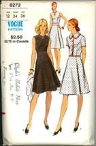 Uncut 1970s Size 12 Bust 34 Princess Dress Cropped Jacket Vogue 8273 Pat... - $12.99