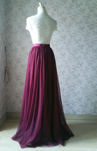 Burgundy Long Tulle Skirt High Waisted Wedding Skirt Burgundy Tulle Maxi Skirt image 5