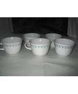 (5) Vintage CORELLE CORNING Livingware Snowflake Garland Blue Tea Coffee... - $5.99