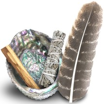 Smudge Kit - Sage, Palo Santo, Abalone Shell, Feather More! Healing, Pur... - $21.05