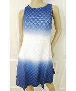 Nwt ECI New York Stretch Lace Overlay Fit & Flare Dress Sz 10 Blue Ivory... - $59.35