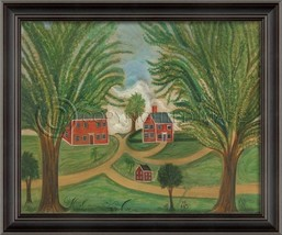 Artwork Primitive with Three Houses Left-Hand N... - $459.00